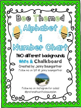 Bee Themed Alphabet and Number Chart{white background and
