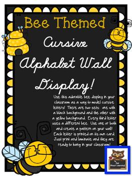 Bee Themed Cursive Alphabet Wall Display