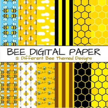 Bee Theme Digital Paper - Bees Themes 12 Papers & Backgrou