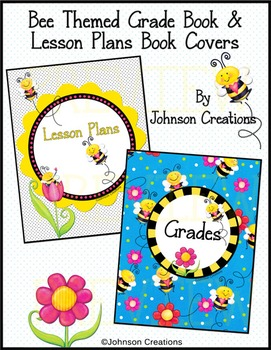 Bee Themed Grade Book and Lesson Plans Book Covers
