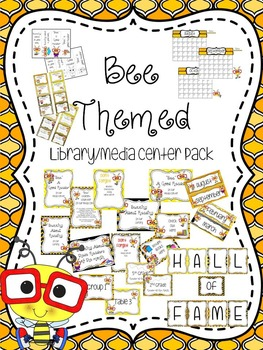Bee Themed Library/Media Center Pack {with EDITABLE passes