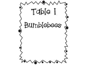 Bee Themed Table Signs