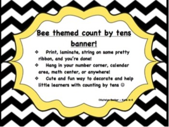 """Bee themed """"Count by tens"""" banner!"""