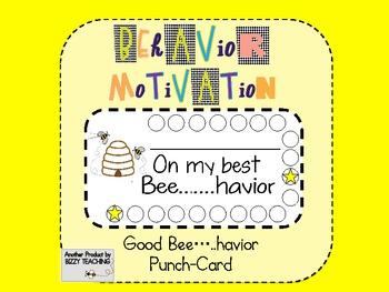 Bee.....Havior Behavior Motivation Punch Cards Classroom M