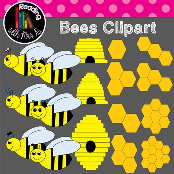 Bees, Honeycomb and Beehive Clipart