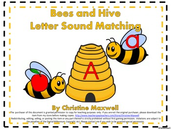 Bees and Hives Letter and Sound Matching for Spring and Summer