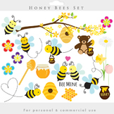 Bees clipart - honey clip art spring bumblebees whimsical