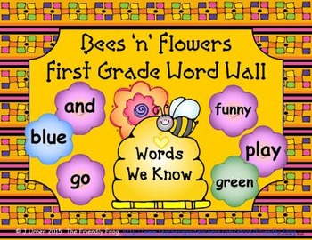 Bees 'n' Flowers First Grade Word Wall