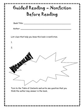 Before Reading Reading Nonfiction Sheet