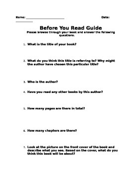 Before You Read Novel Guide