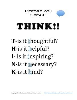 Before You Speak THINK!!!