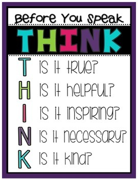 Before You Speak...THINK Poster