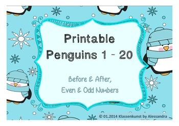 Before and After / Even and Odd Numbers Penguin Printable 1 - 20