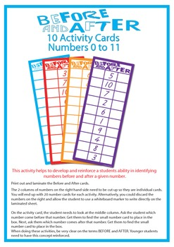 Before and After Number Activity (11 pages) Numbers 0 to 11
