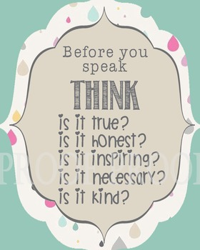 Before you Speak THINK Poster School Counselor Counseling