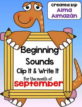 Beginning Sounds Clip It and Write It For the Month of September