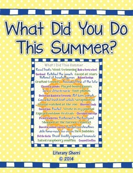 Beginning of Year Activity: What Did You Do This Summer? (
