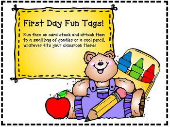 Begin the Year: First Day Tags