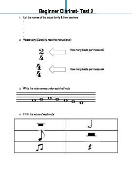 Beginner Clarinet Class- Test 2