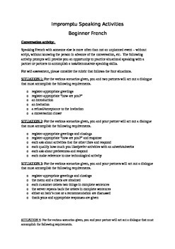 Beginner French Impromptu Speaking Activities 1A