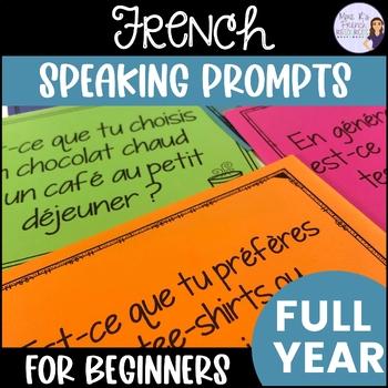 Beginner French speaking task cards - BUNDLED! 6 activities