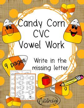 Beginner Reading CVC Vowel Work NO PREP Fall Worksheets
