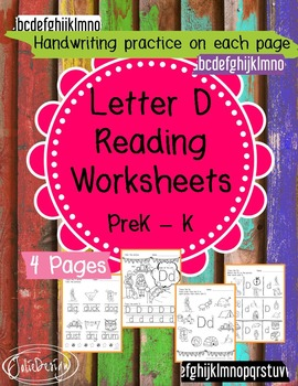 Beginner Reading NO PREP Worksheets Letter D | PreK-K