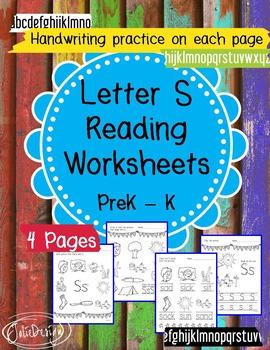 Beginner Reading NO PREP Worksheets Letter S   PreK-K