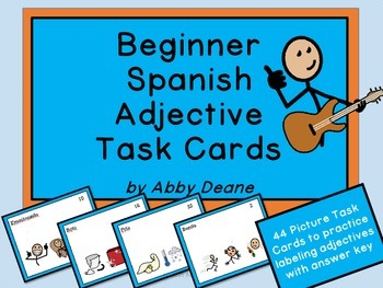 Beginner Spanish Adjective Task Cards