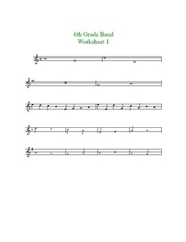Beginning Band Key Signature/Accidental Worksheets--treble