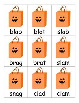Beginning Consonant Blends Halloween-themed Card Game