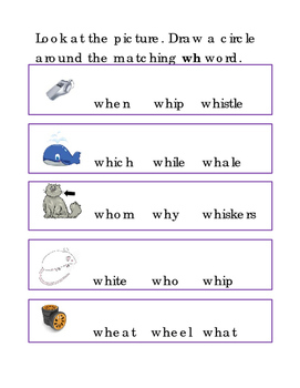 Beginning Consonant Letter Team Circle WH Word ELA Reading