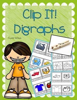 Beginning Digraph Clip It Cards! Literacy Center Activity