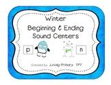 Beginning & Ending Sounds Centers - Set of 3 Winter Themed