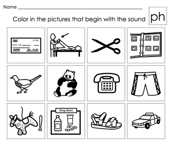 Beginning Letter Sounds Activities: Digraphs Th,Sh,Ch,Wh,P