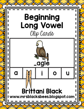 Beginning Long Vowels~ Clip Cards
