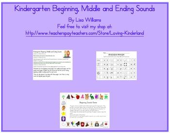 Beginning, Middle, Ending Sounds Games and Worksheets