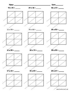 Lattice Multiplication 2 digit by 2 digit