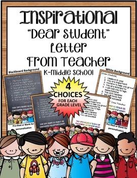 Beginning Of The Year Inspirational Letter From Teacher -