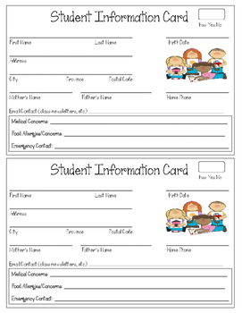 Beginning Of The Year- Student Info Cards