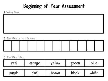 Beginning Of Year Assessment - Kindergarten