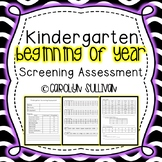Beginning Of Year Kindergarten Screening Assessment