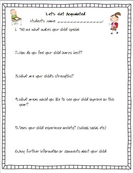 Back to School Year Questionnaire - Parent & Student