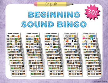 Beginning Sound Bingo – 30 Boards (English)