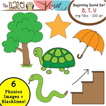 Beginning Sound Phonics Clip Art - S, T, U Set