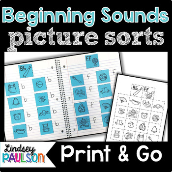 Beginning Sound Picture Sorts No Prep