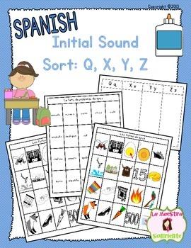 Beginning Sound Recognition: Initial Sound Word Sort - Q X