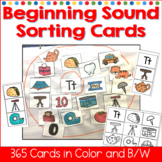 Beginning Sound Sorting Cards Color and B/W
