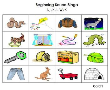 Beginning Sound and Letters - Bingo Cards 4