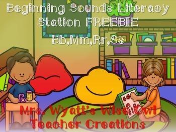 Beginning Sounds Bb,Mm,Ss,Rr Literacy Station Freebie